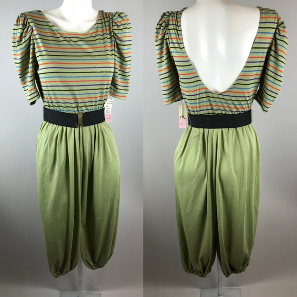 e2b76b8f934 Vtg 70s Striped Jumpsuit Olive Green Deadstock 11